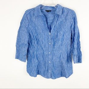 Brooks Brother blue white striped linen button up